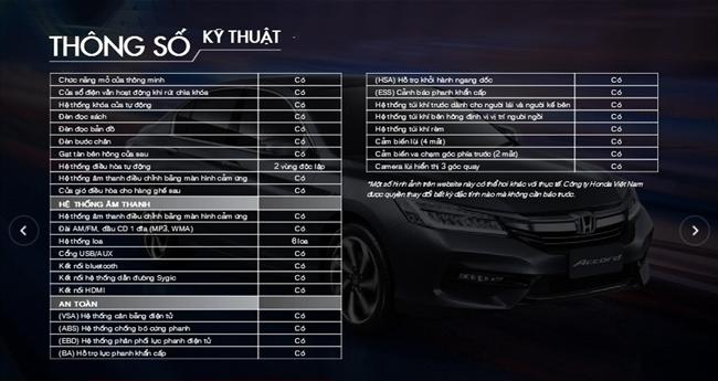Thông số kỹ thuật Honda Accord 5