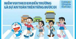 Khẩu hiệu an toàn giao thông cùng Doraemon