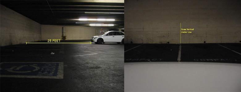 Đậu xe trên nền phẳng trước tường thử và xác định đường tim